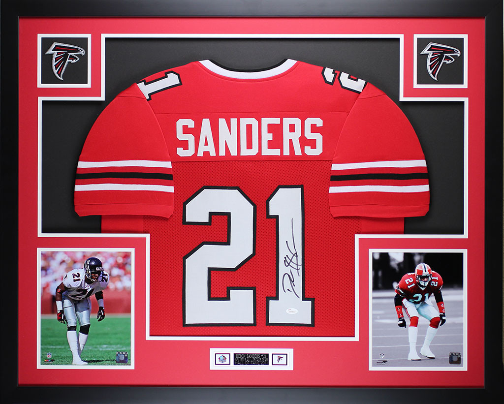 promo code 388de 6dbe9 Deion Sanders Autographed and Framed Red Falcons Jersey
