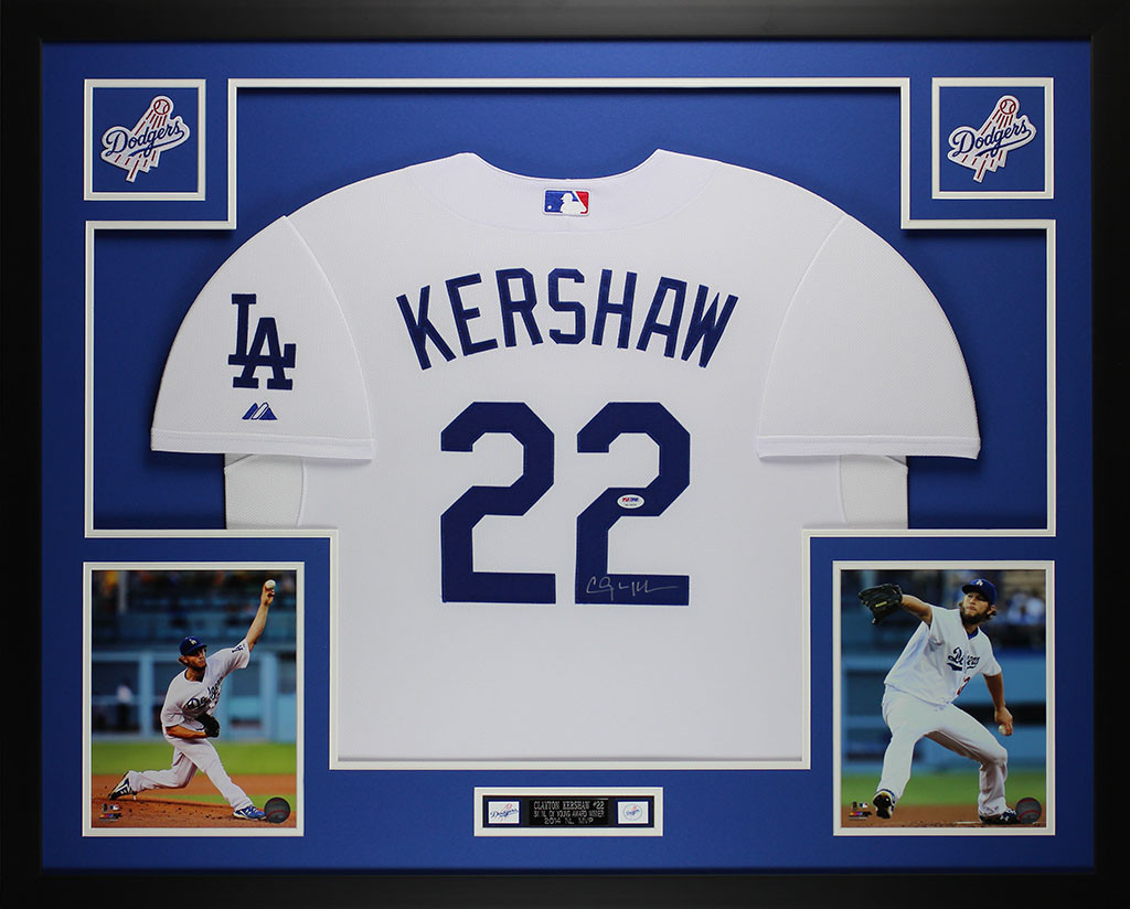 145d0748175 Clayton Kershaw Autographed and Framed White Los Angeles Dodgers Jersey  Auto PSA COA. Loading zoom