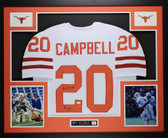 Earl Campbell Autographed HT 77 & Framed White Texas Longhorns Jersey JSA COA