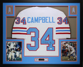 Earl Campbell Autographed HOF 91 and Framed White Houston Oilers Jersey JSA COA