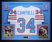 Earl Campbell Autographed HOF 91 and Framed White Houston Oilers Jersey JSA Certified