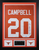 Earl Campbell Autographed HT 77 & Framed Orange Texas Longhorns Jersey JSA COA