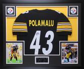 Troy Polamalu Autographed & Framed Black Steelers Jersey JSA Certified (D3-L)