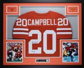 Earl Campbell Autographed HT 77 and Framed Orange Texas Longhorns Jersey JSA Certified