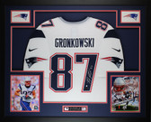 Rob Gronkowski Autographed and Framed White Patriots Jersey Auto Steiner COA