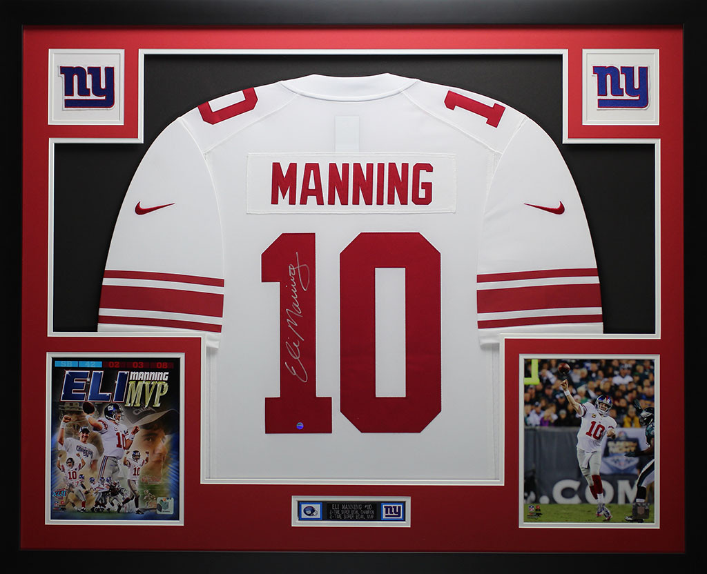 Eli Manning Autographed And Framed White Giants Jersey