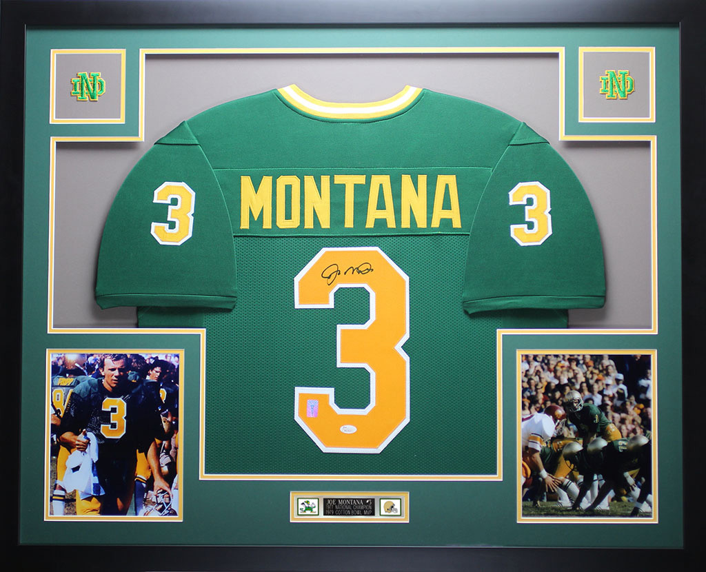 online store 59682 6eee6 Joe Montana Autographed and Framed Green Notre Dame Jersey