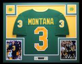 Joe Montana Autographed & Framed Green Notre Dame Fighting Irish Jersey Auto JSA COA