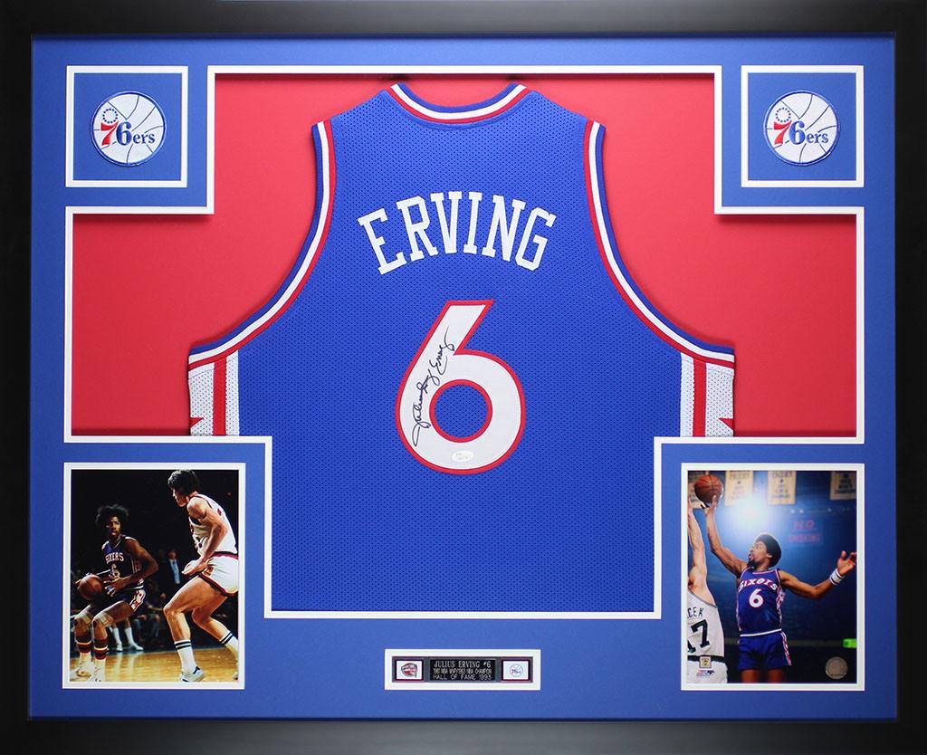 4d840640ea09 Julius Dr. J Erving Autographed   Framed Blue Philadelphia 76ers Jersey JSA  COA. Loading zoom