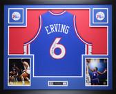 Julius Dr. J  Erving  Autographed &  Framed  Blue Philadelphia 76ers Jersey JSA COA