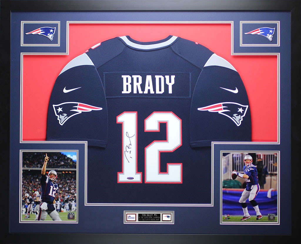 a7c707708bc Tom Brady Autographed and Framed Blue Patriots Nike Jersey