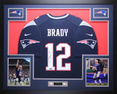 Tom Brady Autographed & Framed Blue New England Patriots Nike Jersey Tristar COA
