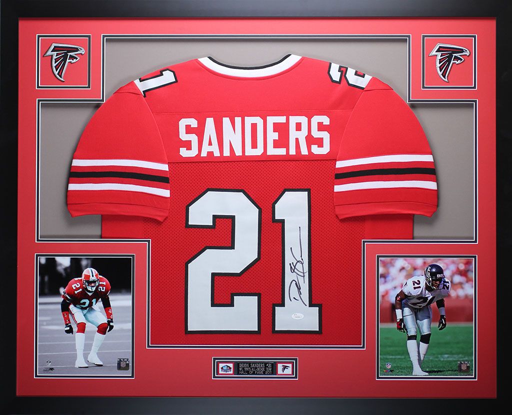 promo code bf8ce f4dc7 Deion Sanders Autographed and Framed Red Falcons Jersey