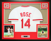 Pete Rose Autographed Hit King and Framed White Cincinnati Reds Jersey JSA Certification