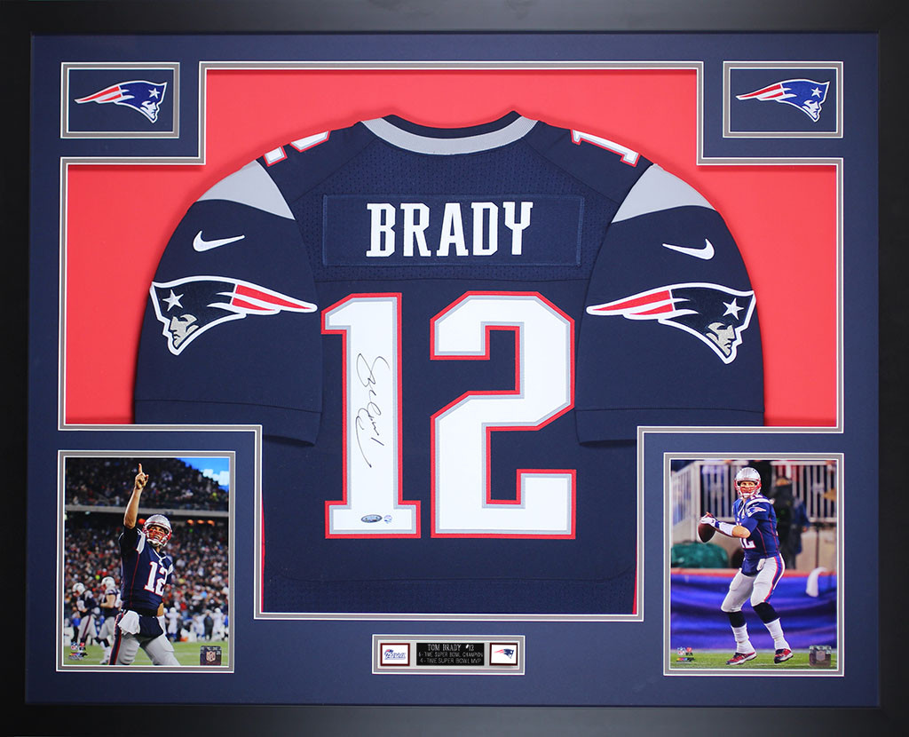 03852c163 Tom Brady Autographed   Framed Navy New England Patriots Nike Jersey  Tristar Certification. Loading zoom