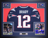 Tom Brady Autographed & Framed Navy New England Patriots Nike Jersey Tristar Certification
