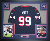 JJ Watt Autographed & Framed Blue Houston Texans Nike Jersey Auto JSA COA