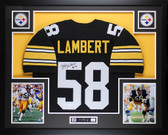 "Jack Lambert Autographed ""HOF 90"" and Framed Black Pittsburgh Steelers Jersey Auto JSA Certified"