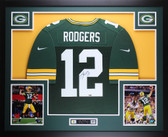 Aaron Rodgers Autographed & Framed Green Green Bay Packers Nike Jersey Auto Fanatics COA