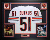 Dick Butkus Autographed and Framed White Chicago Bears Jersey Auto JSA COA