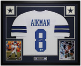 Troy Aikman Autographed and Framed White Dallas Cowboys Jersey JSA COA