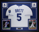 George Brett Autographed HOF 99 and Framed White Kansas City Royals Jersey Fanatics COA