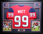 JJ Watt Autographed and Framed Red Houston Texans Jersey Auto JSA Certified