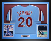 Mike Schmidt Autographed HOF 95 & Framed Blue Philadelphia Phillies Jersey Fanatics  COA