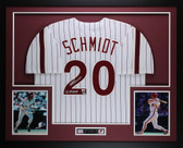 Mike Schmidt Autographed 80 WS CHAMPS Framed White Pinstriped Philadelphia Phillies Jersey Fanatics COA