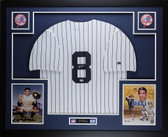 Yogi Berra Autographed and Framed White Pinstriped New York Yankees Jersey Auto JSA Certified