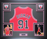 Dennis Rodman Autographed Framed Red Chiacgo Chicago Bulls Jersey Auto JSA COA