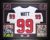 JJ Watt Autographed and Framed White Houston Texans Jersey Auto JSA Certified