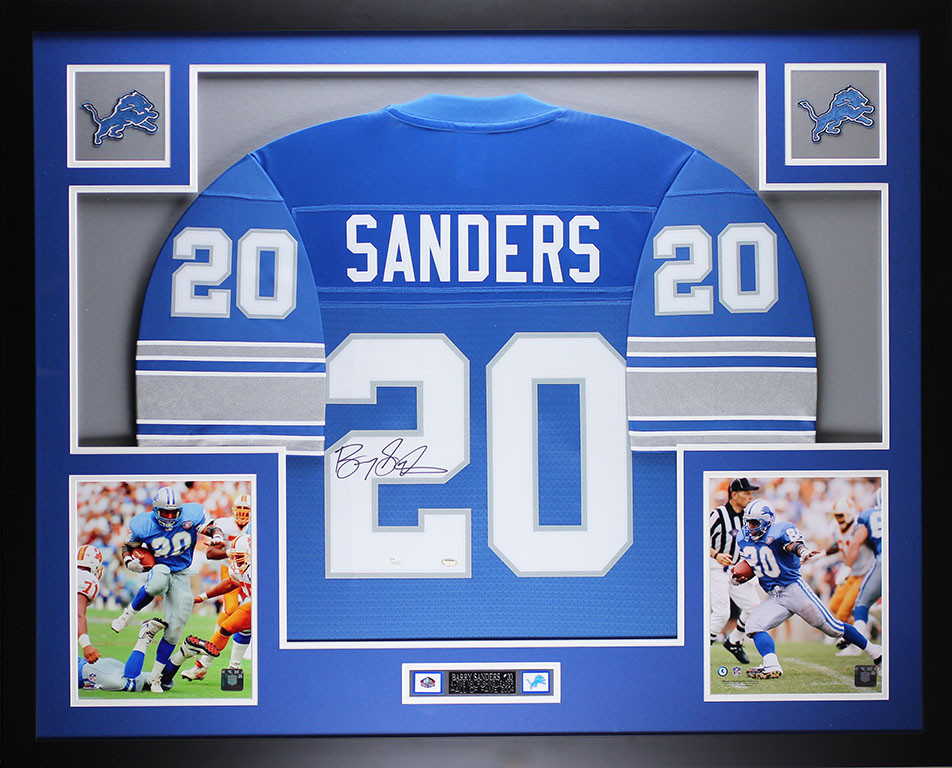 Barry Sanders Autographed and Framed Blue Detroit Lions Jersey