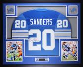 Barry Sanders Autographed & Framed Blue Detroit Lions Jersey Auto JSA Cert