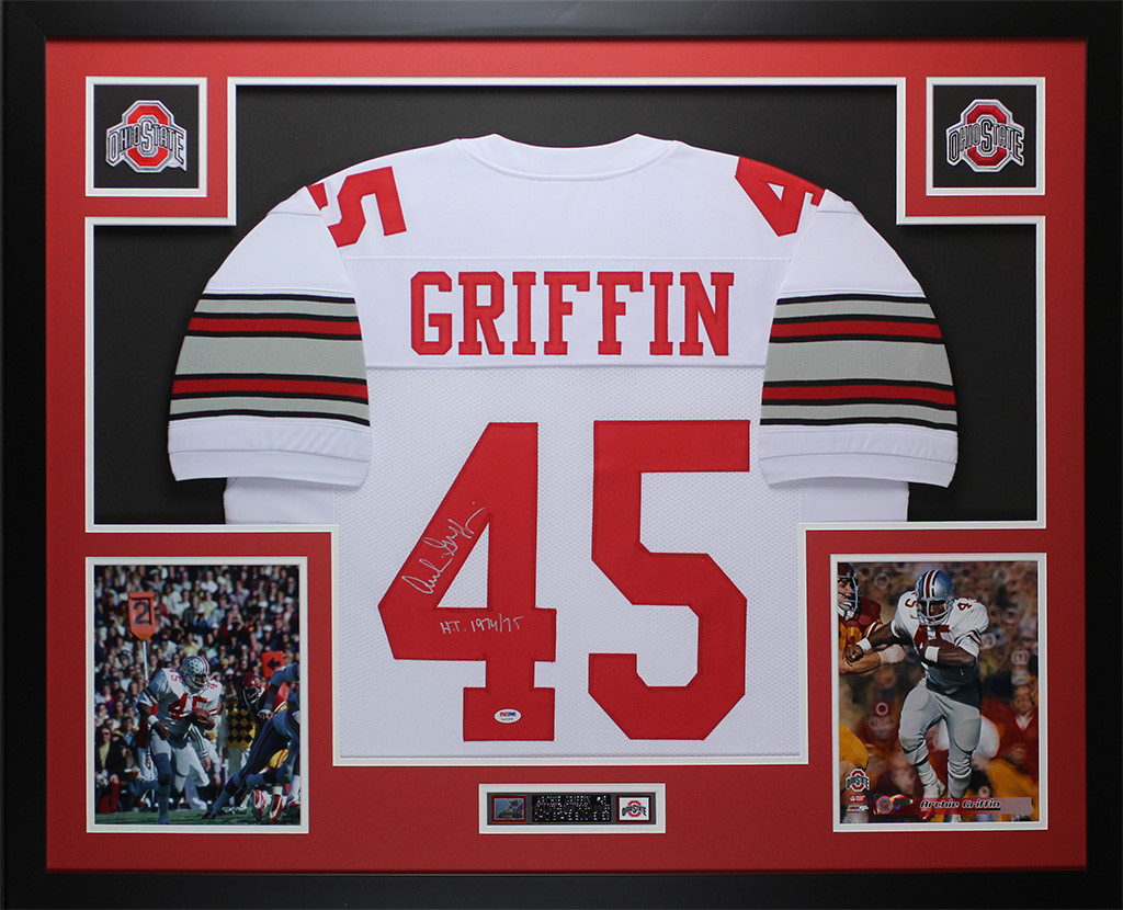 63eaf10fd82 Archie Griffin Autographed HT 1974/75 & Framed White Ohio State Buckeyes  Jersey PSA COA. Loading zoom