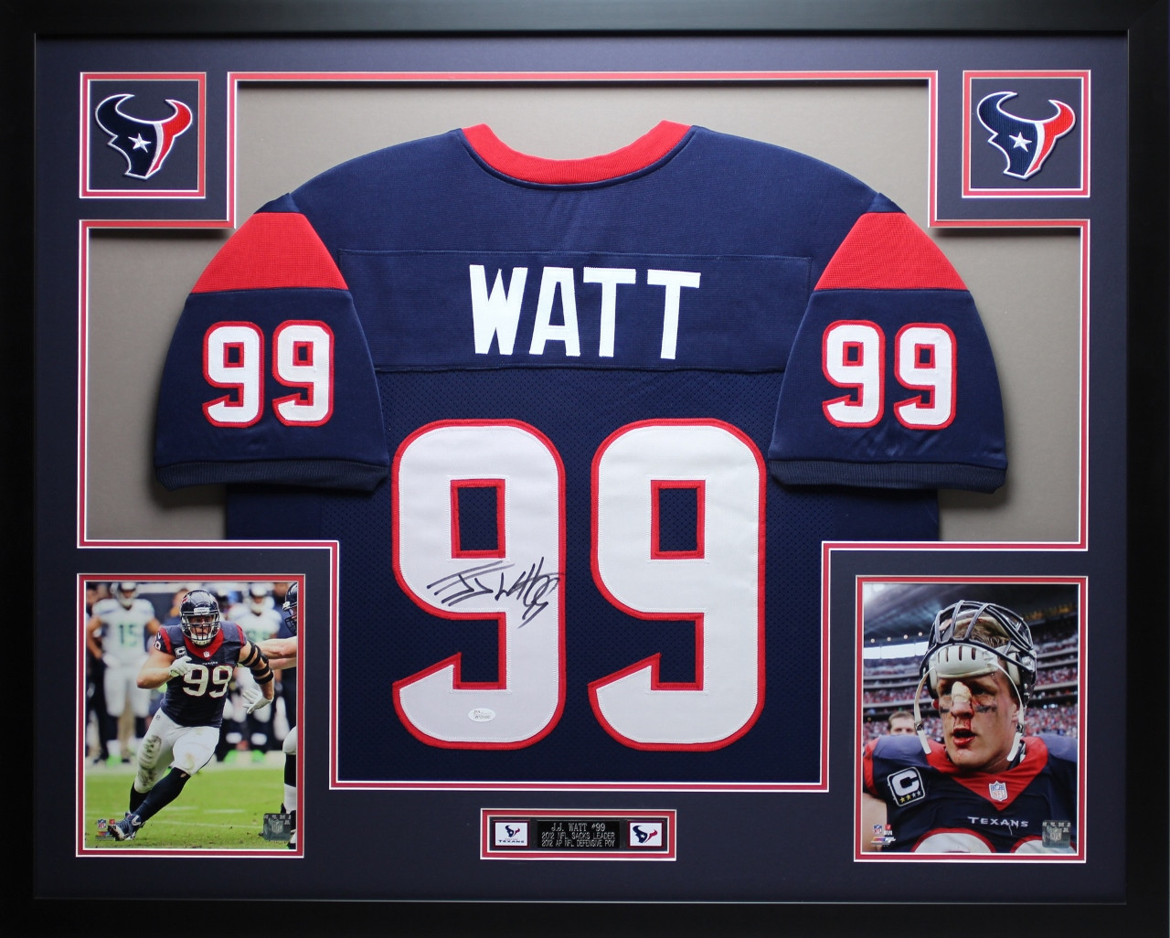 premium selection cf722 47f25 JJ Watt Autographed and Framed Blue Texans Jersey