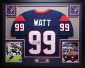 JJ Watt Autographed and Framed Blue Houston Texans Jersey Autograph JSA Certified
