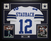 Roger Staubach Autographed and Framed White Dallas Cowboys Jersey Auto JSA Certified