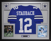 Roger Staubach Autographed and Framed Blue Dallas Cowboys Jersey Auto JSA Certified