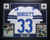 Tony Dorsett Autographed and Framed White Dallas Cowboys Jersey Auto JSA Certified