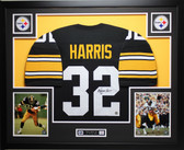 Franco Harris Autographed Signed and Framed Black Pittsburgh Steelers Jersey Auto JSA Certified