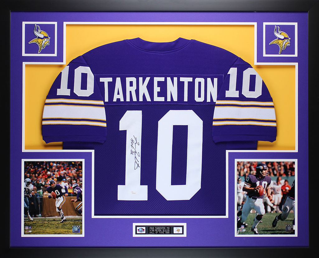 Fran Tarkenton Autographed HOF 86 and Framed Purple Vikings Jersey
