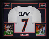 John Elway Autographed Signed and Framed White Denver Broncos Jersey Auto JSA Certified