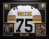 Joe Greene Autographed HOF 87 and Framed White Pittsburgh Steelers Jersey Auto JSA Certified