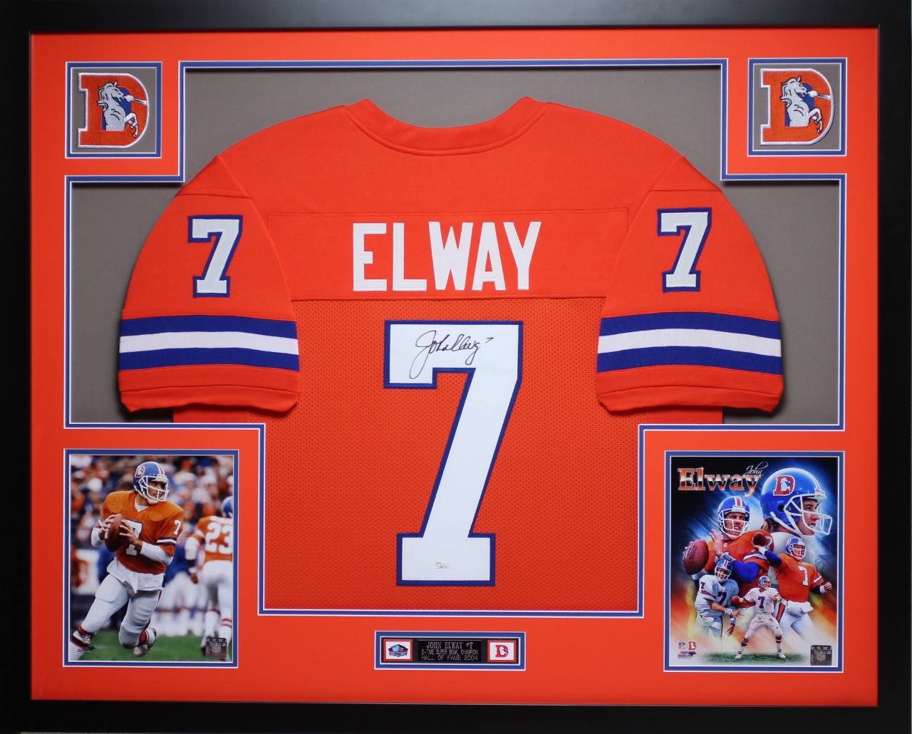 watch 86527 f00b9 John Elway Autographed and Framed Orange Crush Broncos Jersey