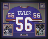 Lawrence Taylor Autographed and Framed Blue New York Giants Jersey Auto JSA Certified