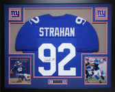 Michael Strahan Autographed and Framed Blue New York Giants Jersey Auto JSA Certified