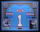 Warren Moon Autographed HOF 06 and Framed Blue Houston Oilers Jersey Auto JSA Certified