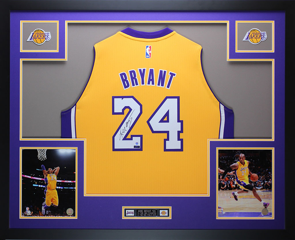 Kobe Bryant Autographed and Framed Gold Lakers Jersey