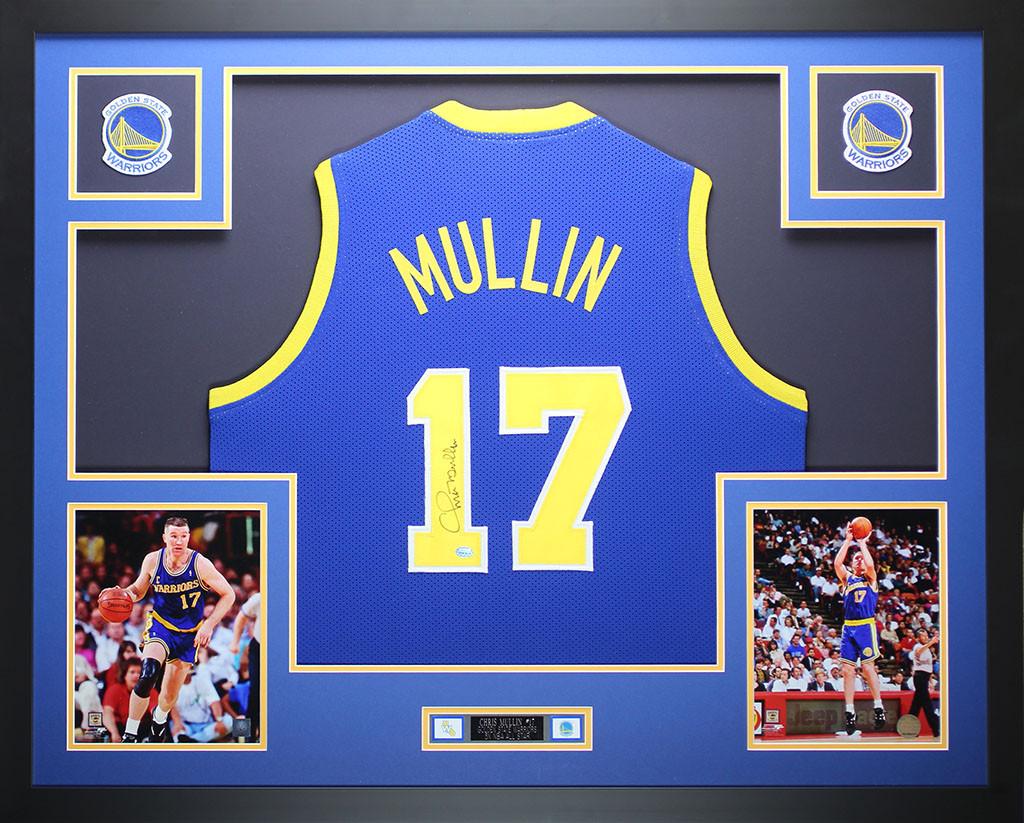 designer fashion 07b67 3734f Chris Mullin Autographed and Framed Blue Warriors Jersey